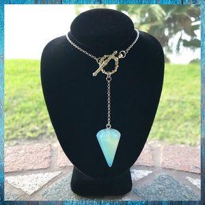 Opalite pendulum lariat silver boho necklace